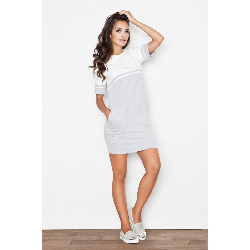 d91790d448db Sivo biele športové letné šaty s vreckami - fashionday.eu