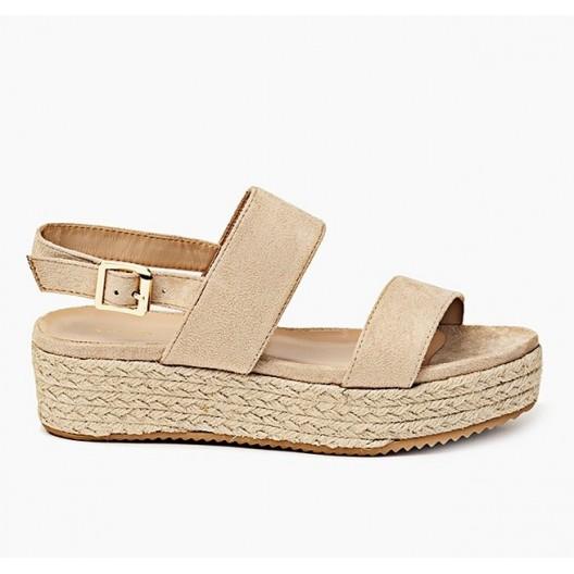 Letné dámske sandále v béžovej farbe s hrubou podrážkou