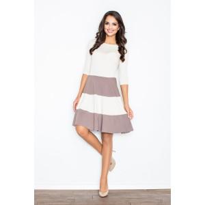 Biele elegantné šaty s 3/4 rukávom a kakaovými pásmi
