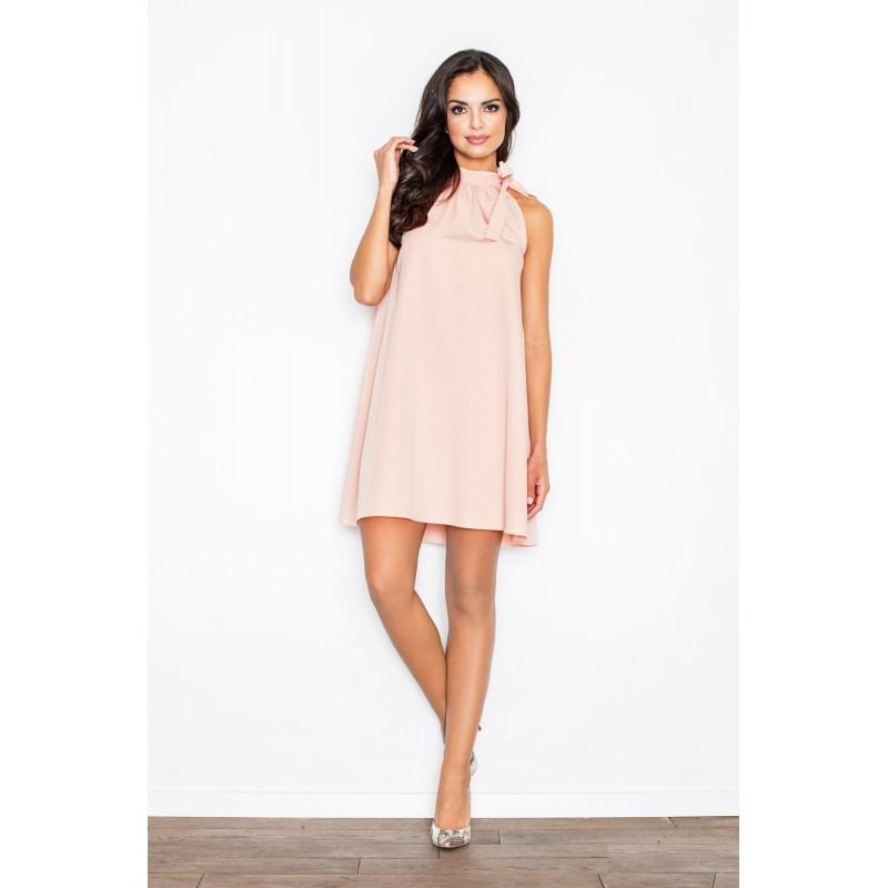 73815b1af6b9 Exkluzívne večerné šaty voľné s viazaním okolo krku v slabo ružovej ...