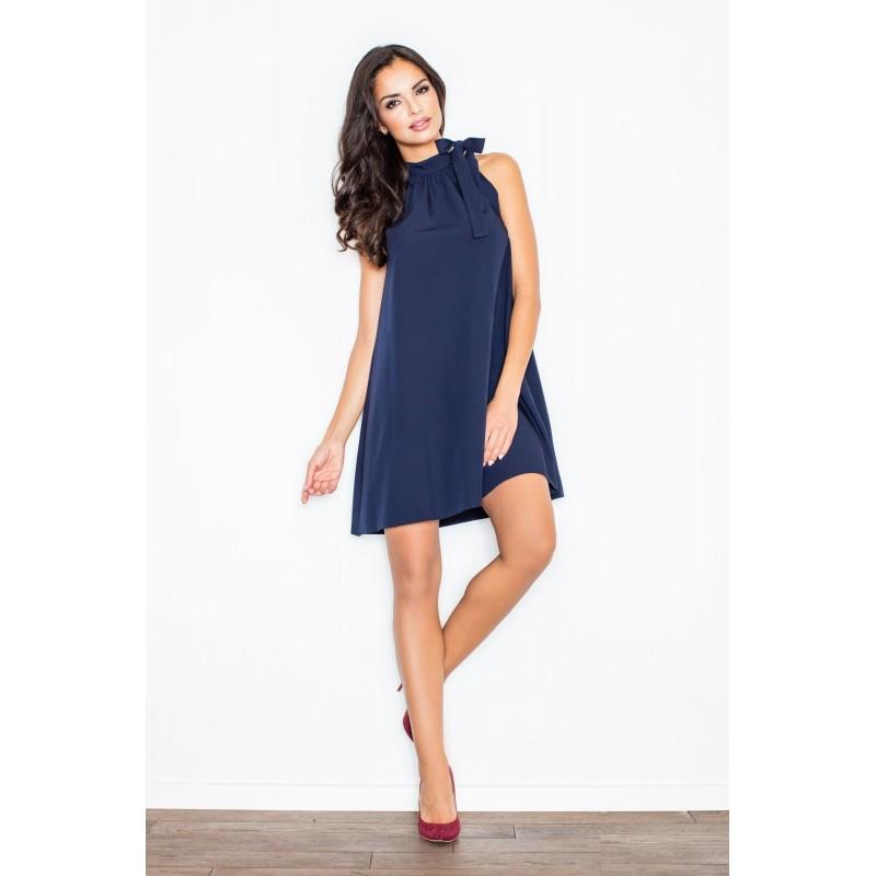 c18ab480995d Večerné šaty s viazaním okolo krku v tmavomodrej farbe - fashionday.eu