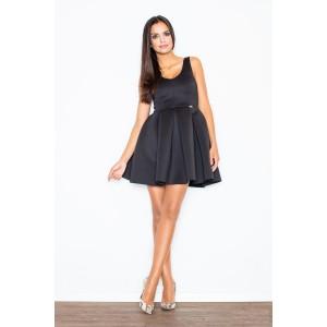 Elegantné šaty áčkoveho strihu v čiernej farbe