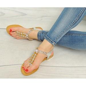 Dámske sandále v striebornej farbe so žltými kamienkami