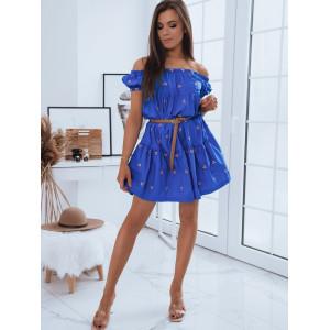 Modré dámske letné šaty s odhalenými ramenami