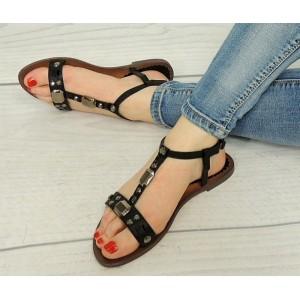 Čierne sandále dámske s kamienkami