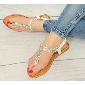 Letné dámske sandále v bielej farbe s korálikmi