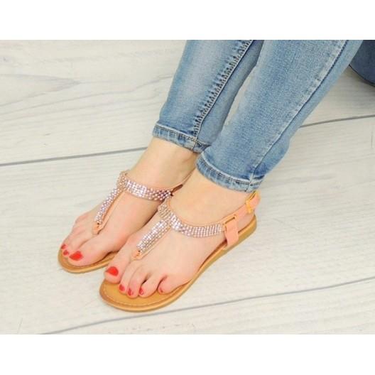 Moderné dámske sandále ružové s rovnou podrážkou