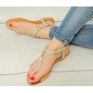 Moderné dámske sandále béžové s tenkou podrážkou