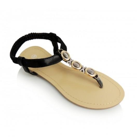 Dámske sandále čiernej farby s medailónmi na prednej strane