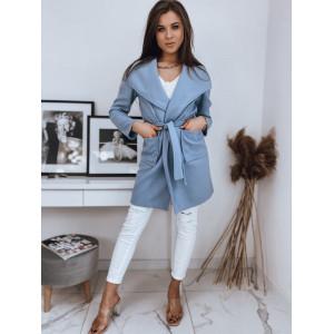 Ležérny modrý kabát voľné strihu s opaskom