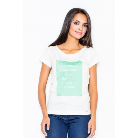 Biele letné tričko pre ženy so zelenou potlačou