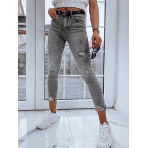 Pohodlné dámske nohavice v sivej farbe s odreninami