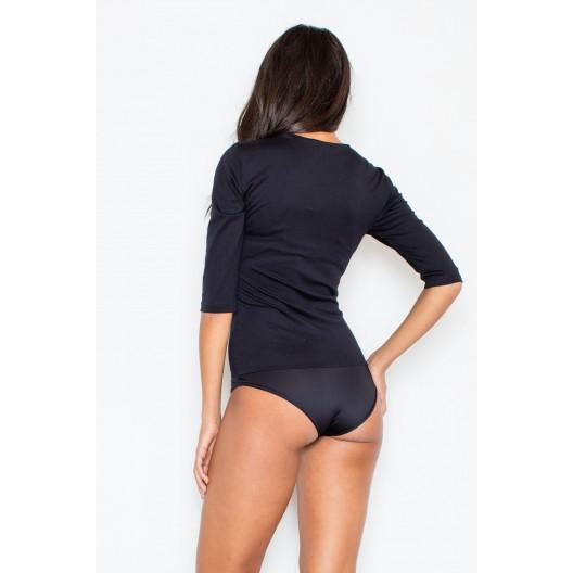 Dámska body košeľa v čiernej farbe so zipsom