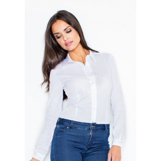 Dámska body košeľa v bielej farbe s dlhým rukávom