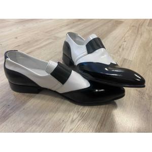 VEĽKOSŤ 44 Pánske kožené extravagantné topánky čierno-biele