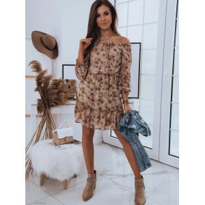 Letné dámske šaty OFF SHOULDER strihu v zemitých odtieňoch