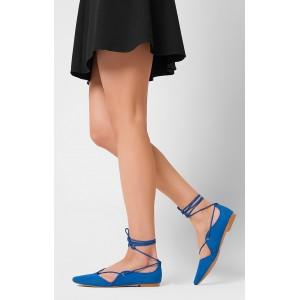 Sandále pre ženy modrej farby s viazaním okolo nohy