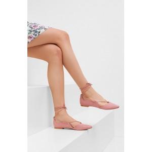 Dámske módne sandále ružovej farby zdobené viazaním