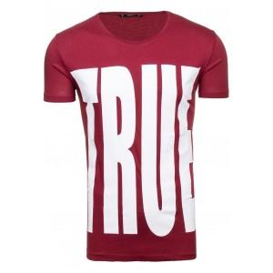 Moderné pánske tričko v bordovej farbe s potlačou