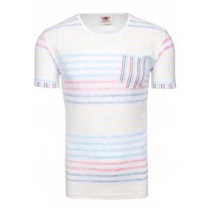 Biele pánske tričko s farebnými pásikmi