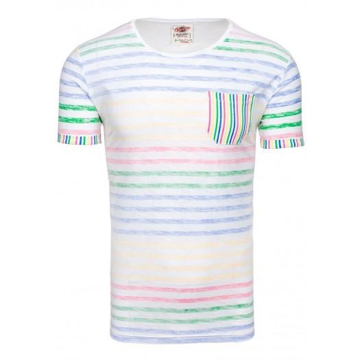 Pánske tričko s okrúhlym výstrihom v bielej farbe