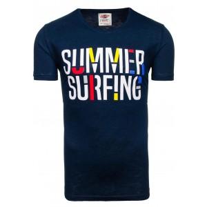 Moderné pánske tričko tmavomodrej farby s nápisom summer surfing