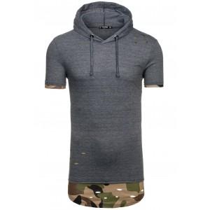 Pánske tričko tmavo sivej farby s kapucňou