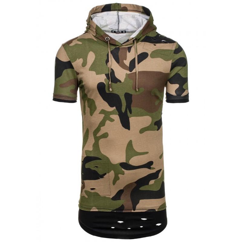 761268516 Pánske army tričko krátky rukáv v zelenej farbe - fashionday.eu