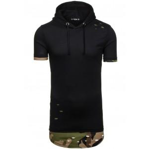 Pánske tričko s kapucňou čiernej farby v army štýle