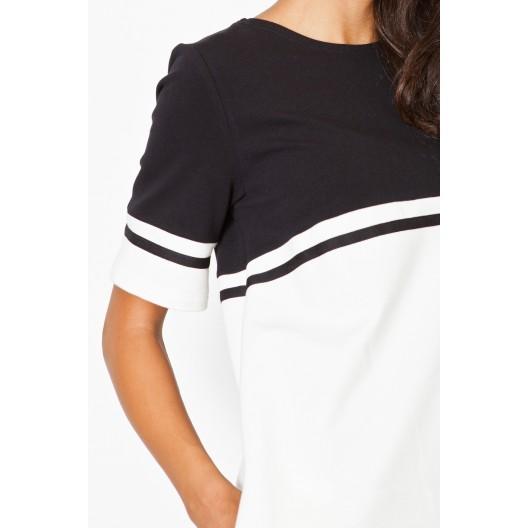 Biele športové dámske šaty s čierným pásom