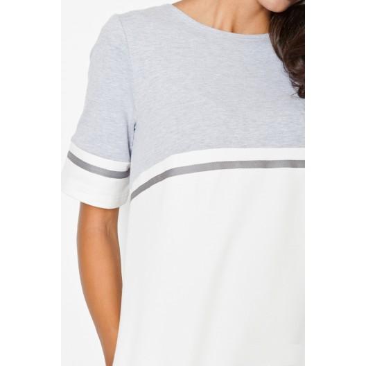 Športové šaty bielo sivé s vreckami