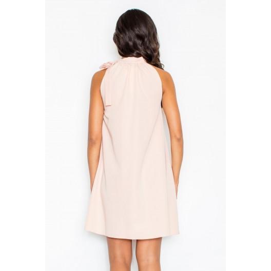 Exkluzívne večerné šaty voľné s viazaním okolo krku v slabo ružovej farbe