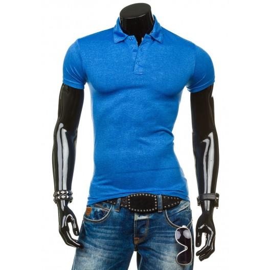 Pánske polo tričko svetlo modrej farby s krátkym rukávom