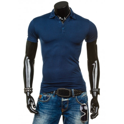 Tmavomodré tričko pre pánov s golierom