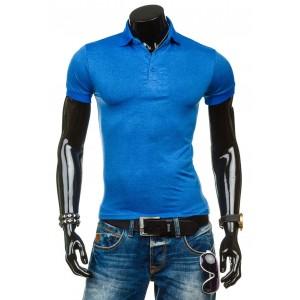 Polokošela pre pánov svetlo modrej farby s golierom