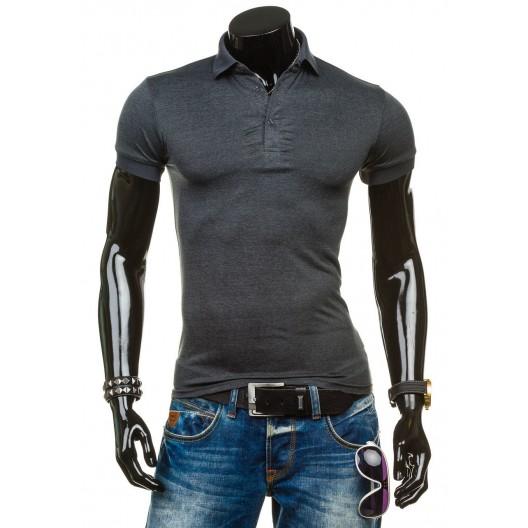 Tmavosivé tričko pre pánov s golierom