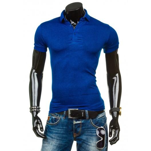 Športové pánske polokošele modrej farby