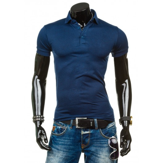 Pánske polo tričko tmavo modrej farby s krátkym rukávom