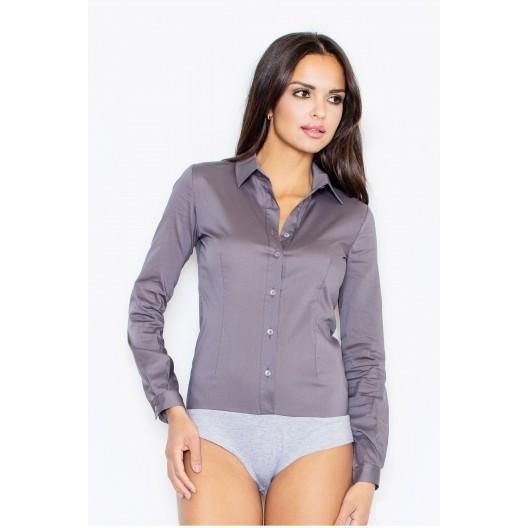 Body košeľa v sivej farbe s dlhými rukávmi