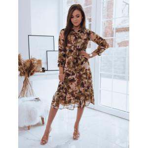 Dámske dlhé midi šaty s motívom listov