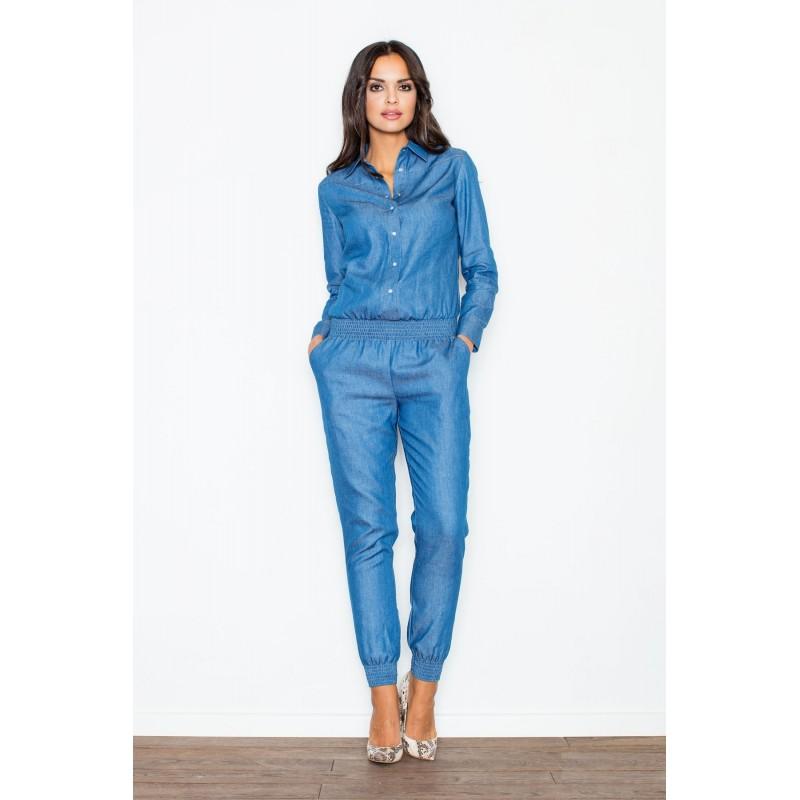 4812022383e5 Riflový štýlový dámsky overal modrý - fashionday.eu