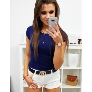VEĽKOSŤ XL Dámske jednofarebné tričko s krátkym rukávom v granátovo modrej farbe