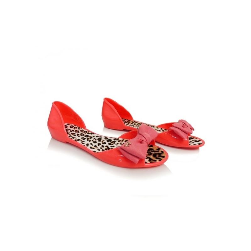 da911591e Moderné dámske balerínky červenej farby s mašľou - fashionday.eu