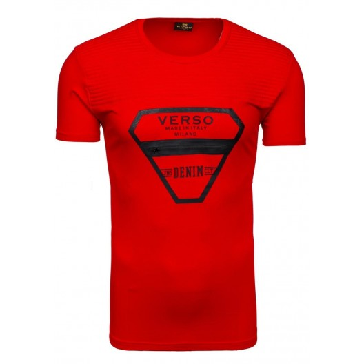 Pánske tričko s okrúhlym výstrihom v červenej farbe