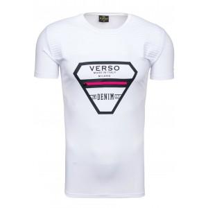 Pánske tričko bielej farby s ružovým zipsom na hrudi