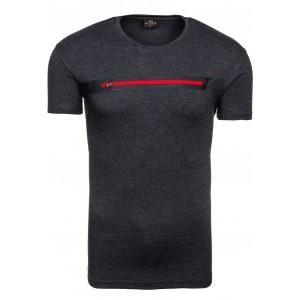 Pánske tričko s okrúhlym výstrihom sivej farby
