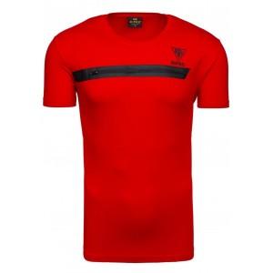 Tričko s krátkym rukávom so zipsom cez prsia v červenej farbe