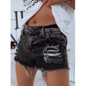 Moderné dámske sivo čierne rifľové šortky