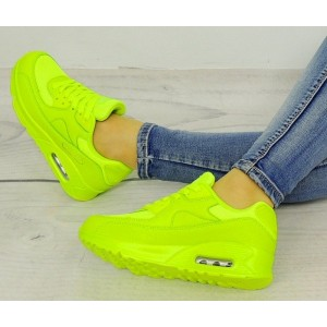 Dámske neónové topánky na voľný čas v zelenej farbe