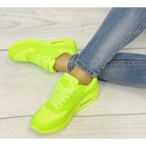 Dámska neónová športová obuv so šnúrkami v zelenej farbe